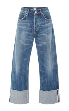 Medium citizens of humanity medium wash parker relaxed selvedge cuffed cropped jeans