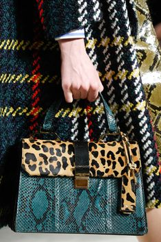 Walk through the Jungle: Leopard and snake (?) patterned purse Detail of Miu Miu Fall 2015.