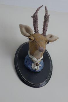 Deer head. Soft sculpture. Faux taxidermy. Lapino Handmade.