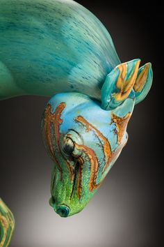ShelleyMuzylowskiAllen-IntheBlue-Head-Habatat-Galleries Contemporary fine art glass
