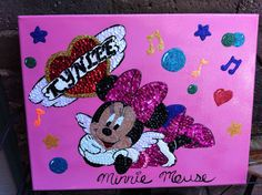 Angel Minnie Mouse canvas  sequin mosaic $25.00 #teresascanvascreations