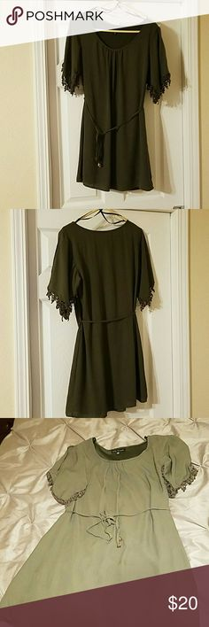 Olive green shift dress with belt size medium Olive green shift dress. Has crochet detail on sleeves. Comes with matching belt. Great condition. City Triangles Dresses