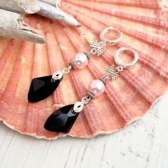 Today's Featured #etsy Seller:  Long Pink Black Swarovski Crystal Earrings-Swarovski Jewellery-Pearl… LIMITED SUPPLY #etsyseller #jewellery
