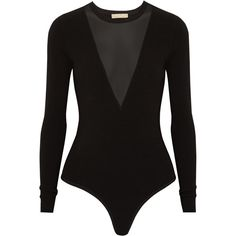 Michael Kors Collection Mesh-paneled stretch-jersey bodysuit ($830) ❤ liked on Polyvore featuring intimates, shapewear, tops, black and bodysuits