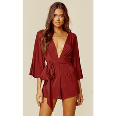 Blue Life Life's Good Romper (£68) ❤ liked on Polyvore featuring jumpsuits, rompers, romper, red, blue rompers, playsuit romper, red romper, 3/4 sleeve romper and blue romper