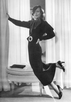 Joan Crawford by George Hurrell, 1932 vintage fashion style print ad model movie star portrait day suit black belt buckle bow puff sleeves dress bow jacket skirt hat Old Hollywood Glamour, Hollywood Fashion, Golden Age Of Hollywood, Vintage Glamour, Vintage Hollywood, Hollywood Stars, Classic Hollywood, Vintage Beauty, Hollywood Icons