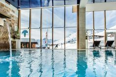 At Hotel Edelweiss in Hochsolden you can enjoy a refreshing swim in our indoor pool after a day of skiing or snowboarding with panoramic views over the Alps in Tyrol. Hotel Edelweiss, Alps, Skiing, Indoor, Outdoor Decor, Bathing, Viajes, Ski, Interior