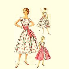 Vintage 1950s Party Dress Pattern Uncut by RebeccasVintageSalon, $36.00