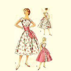 Vintage 1950s Party Dress Pattern Uncut by RebeccasVintageSalon, $36.00