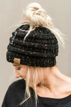Messy Bun Confetti Knitted Beanie - Black