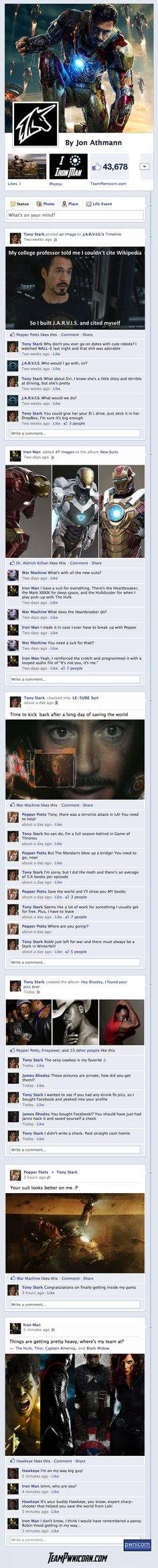 if Iron Man 3 was told through Facebook