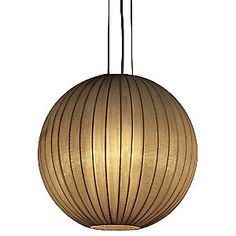 Trend Lighting Shanghai Round Pendant is formed out of sheer Pearl or Gold ribbon. This warmly translucent shade overlays a spherical metal wire frame