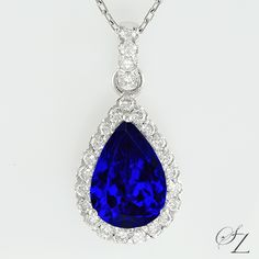 A sensational pendant. The Tanzanite is exceptional - the color is incredible, a intense, fine Kashmir Sapphire Blue that emanates from deep within the stone with gorgeous shards of light that dance through the piece and catch the eye. A fine white Diamond halo, intensifies the color of the Tanzanite and the combination is nothing short of spectacular.