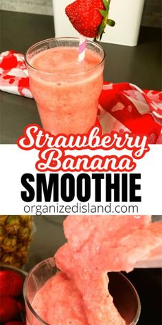 Healthy Strawberry Banana Smoothie - made without additional sugar or sweeteners and so good! Strawberry Banana Yogurt Smoothie, Yogurt Smoothies, Easy Smoothies, Breakfast Smoothies, Breakfast Recipes, Vegan Smoothies, Green Smoothies, Brunch Recipes, Dinner Recipes