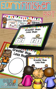 GREATER THAN LESS THAN NUMBERS TO 39   This product comes with:  • A PPT that shows two place value charts, and students have to put a greater than or less than sign. There are 39 slides.  • QR code cards to use with devices  • A cover sheet to put in sheet protectors for students to write answers on that matches the ppt  These EARLY FINISHER PPTS are a huge success in our first grade classrooms, and have truly helped with differentiated instruction, more exposure, and our early finishers…