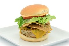 TOSTITOS® ARTISAN RECIPES® Chicken Cheeseburgers with Chipotle Caramelized Onions