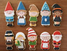 Gnome cookie cutters. The set includes boy and girl gnomes plus a special trimmer that cleanly removes the hats from the gnomes to make other characters. One side cuts the head round and the other adds a cute bow.