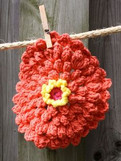 Zinnia Dishcloth FREE pattern Yarnspirations  This was a cute washcloth, I did it all in one color :)