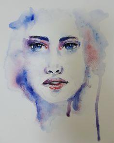 Watercolor Portraits, Watercolor Tattoo, Digital Portrait, My Arts, Romantic, Photo And Video, Artwork, Painting, Instagram