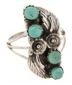 Southwestern Sterling Silver Jewelry Turquoise Ring Size 6-1/4 YS60672-0