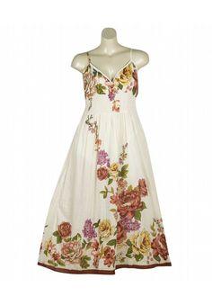 Plus Size White Fun Floral Maxi Dress