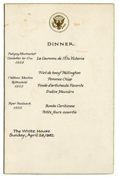 April 29, 1962  White House Dinner Menu  Noble Prize Event  www.pinkpillbox.com