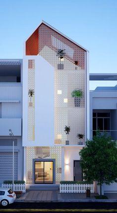 Facade Architecture, Residential Architecture, Contemporary Architecture, Narrow House, Street House, Facade Design, Facade House, Modern Buildings, Modern House Design