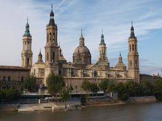 The Basilica of Our Lady of the Pillar  -   Zaragoza, Aragon, Spain  -   built 1681-1872 on the site, according to legend, of a small chapel (reputedly the 1st church in history dedicated to the Virgin Mary)  constructed about 40 A.D. by St. James  -  the curent building  (there have been several on this site) is Baroque in style.