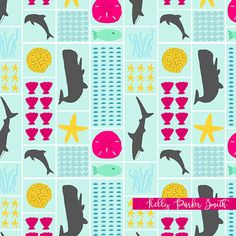 An 'Under the Sea' pattern with whales, dolphins, and sharks by pattern camper & surface pattern designer Kelly Parker Smith.
