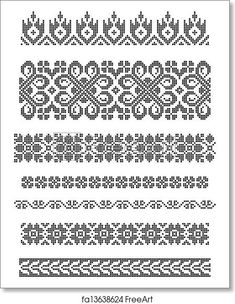 Set of borders, embroidery cross, floral motifs. Free art print of Embroidery. Blackwork Cross Stitch, Cross Stitch Borders, Modern Cross Stitch Patterns, Cross Stitch Charts, Cross Stitch Embroidery, Polish Embroidery, Towel Embroidery, Embroidery Patterns, Shawl Patterns