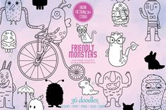 Monster Hands, Bicycle Illustration, Monster Drawing, Sea Monsters, Sea Creatures, How To Draw Hands, Doodles, Die Cut Machines, Doodle