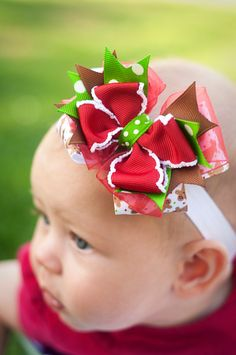 Gingerbread Christmas Baby Headband Bow Baby by KinleyKate on Etsy, $9.95