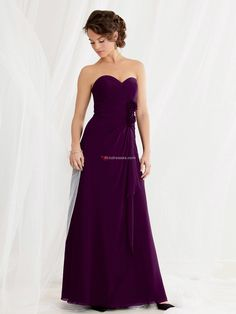 Sweetheart Chiffon With Flower Floor Length Zipper Up A-line Bridesmaid Dresses/ Wedding Party Dresses 462 - En.glossdresses.com