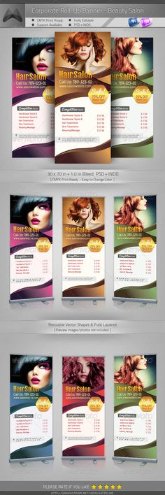 Buy Corporate Roll-up Banner - Beauty Salon by katzeline on GraphicRiver. [ Corporate Roll-up Banner – Beauty Salon ] in Bleed, CMYK Print Ready. Photoshop PSD or higher – Standing Banner Design, Roll Up Design, Pop Up Banner, Salon Business, Corporate Business, Hair And Beauty Salon, Salon Design, Photoshop Design, Print Templates