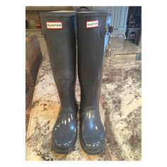 Hunter tall rain boots Graphite color. Gently loved Hunter Boots Shoes Winter & Rain Boots
