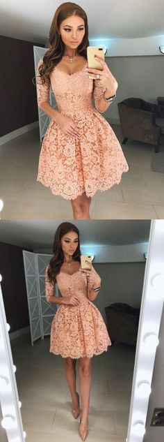 half sleeves short homecoming dresses short,graduation party dress,pink lace dresses for homecoming