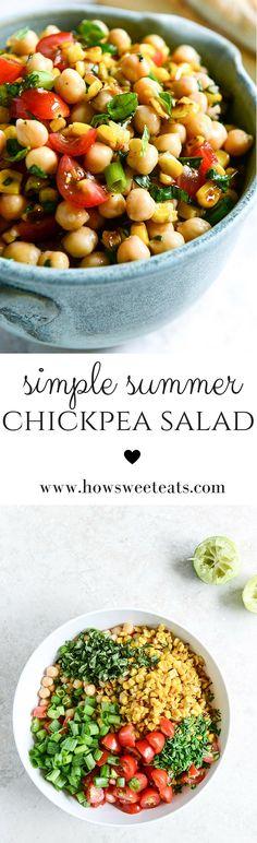 Summer Chickpea Salad with Honey Garlic Lime Vinaigrette by @howsweeteats I howsweeteats.com