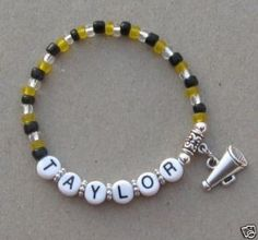 Personalized Cheerleader Megaphone Charm Bracelet. $4.00, via Etsy.