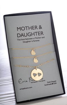 Mom Gift. Mother Two Daughter Necklace Set Gold. by erinpelicano