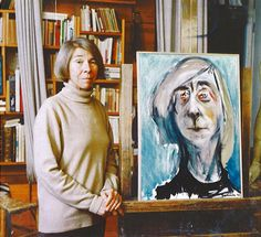 Tove Jansson in her atelier on Ullanlinnankatu with her last self-portrait, painted in Photo Per Olov Jansson's photo archive. Self Portrait Artists, Tove Jansson, Ex Libris, A Comics, Finland, The Dreamers, Disneyland, Scandinavian, Fairy Tales