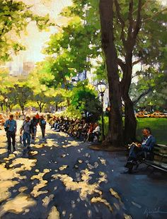 """Karin Jurick - """"Park Central"""" I'm putting this on A Painting A Day board because that's where I have other Karen Jurick art but WOW! Isn't likely! Love it!"""