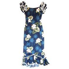 Hilo Blue Hawaiian Meaaloha Muumuu Dress with Sleeves  #flipflop #sandal #palihawaii #jesussandal #jesussandals #jesus