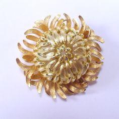 Vintage 1950s Crown Trifari crysanthemum mum flower by jewelry715, $24.00