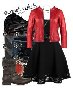 """Scarlet Witch (Avengers: Age of Ultron)"" by claucrasoda ❤ liked on Polyvore featuring Mode, H&M, Aurum By Gudbjorg, Eva Fehren, Funk Plus, Charlotte Olympia, Elizabeth and James, Free People, Milestone und Stephen Webster"