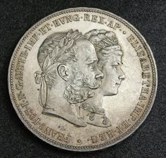 "Austria Double Gulden - Forint Silver commemorative coin 25th Year Wedding Anniversary Emperor Francis Joseph I and his spouse Empress Elisabeth of Austria Sissi, mint year 1879. Obverse: Conjoined busts of Francis Joseph I and his spouse Elizabeth, also known as ""Sissi"""