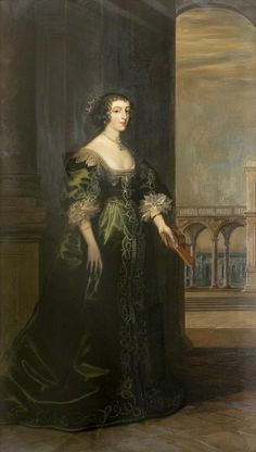 Queen Henrietta Maria (1609–1669) after Daniel I. Mytens (Saffron Walden Town Council, Dorchester, Dorset UK)
