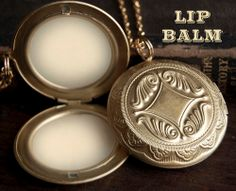 Lip Balm Locket Necklace   Victorian Gold by TheParlorApothecary, $32.00
