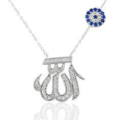 Allah Lafzı Desenli Nazar Boncuklu Gümüş Kolye KL311