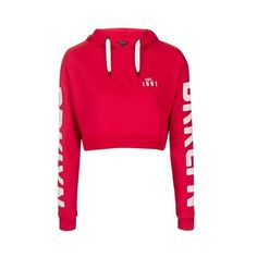 TopShop Brooklyn Cropped Hoodie ($55) ❤ liked on Polyvore featuring tops, hoodies, red, pink hooded sweatshirt, cropped hoodies, hoodie crop top, pink top and red hoodies