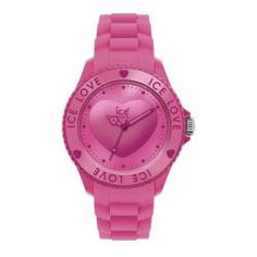 This lovely women's silicone watch from Ice features a pink solid plastic case with a pink silicone strap. The dial is hot-pink with a 3D heart and pink hands and dots as hourly markers. Case: Pink so